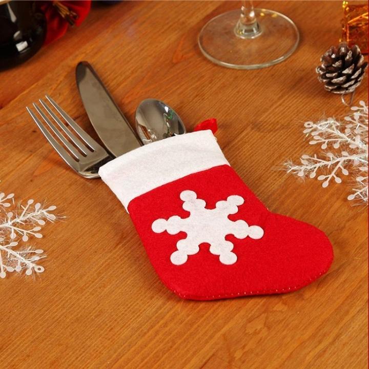 Image of 12pcs Christmas Stocking Knife and Fork Storage Bag
