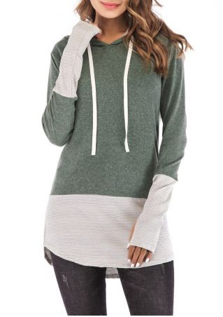 Striped Splicing Drawstring Hoodie