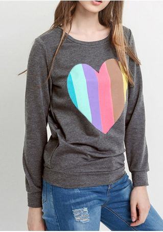 Striped Heart Long Sleeve Sweatshirt