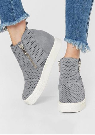Solid Zipper Hollow Out Sneakers