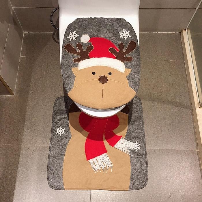 Image of Christmas Reindeer Toilet Bath Mat Set
