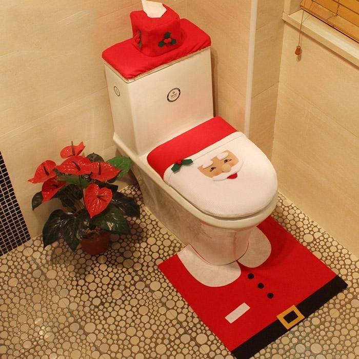 Image of 4Pcs/Set Christmas Santa Claus Bath Toilet Mat Cover Set