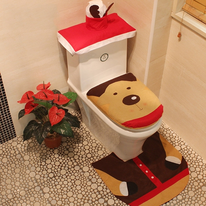 Image of 4Pcs/Set Christmas Reindeer Bath Toilet Mat Cover Set