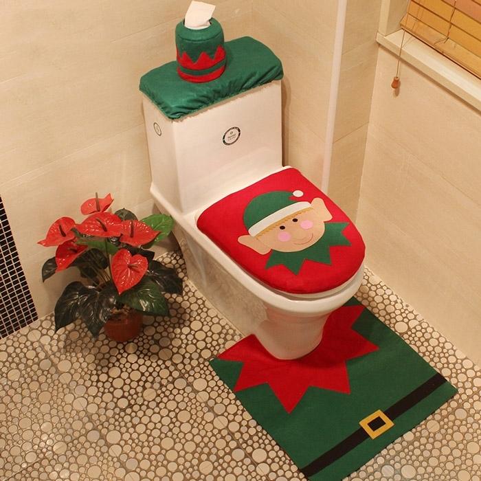 Image of 4Pcs/Set Christmas Decoration Bath Toilet Mat Cover Set