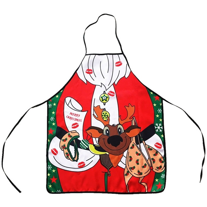 Image of Christmas Gift Cartoon Reindeer Apron