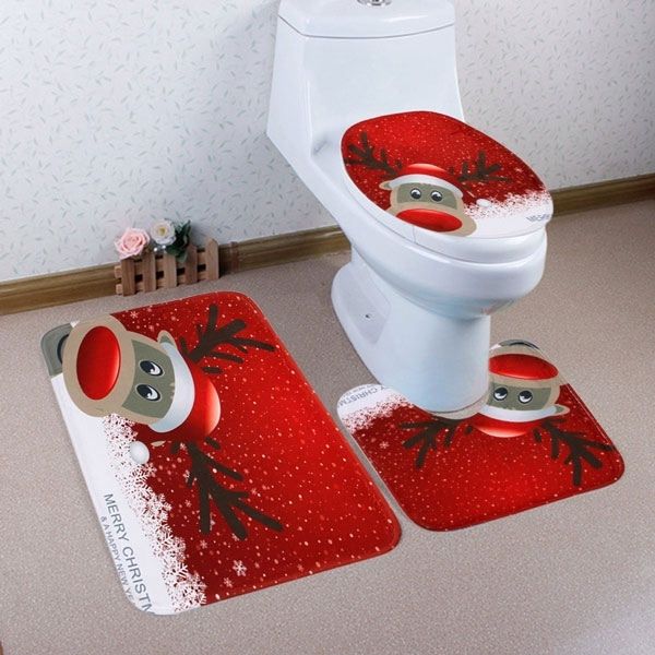 3pcs Set Christmas Reindeer Bath Toilet Mat Cover Set Fairyseason