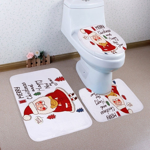 Image of 3Pcs/Set Christmas Santa Bath Toilet Mat Cover Set