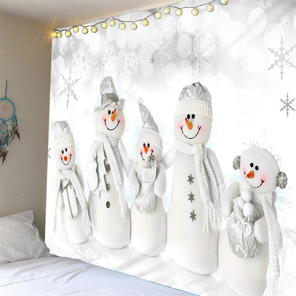 Image of Christmas Snowman Rectangle Tapestry