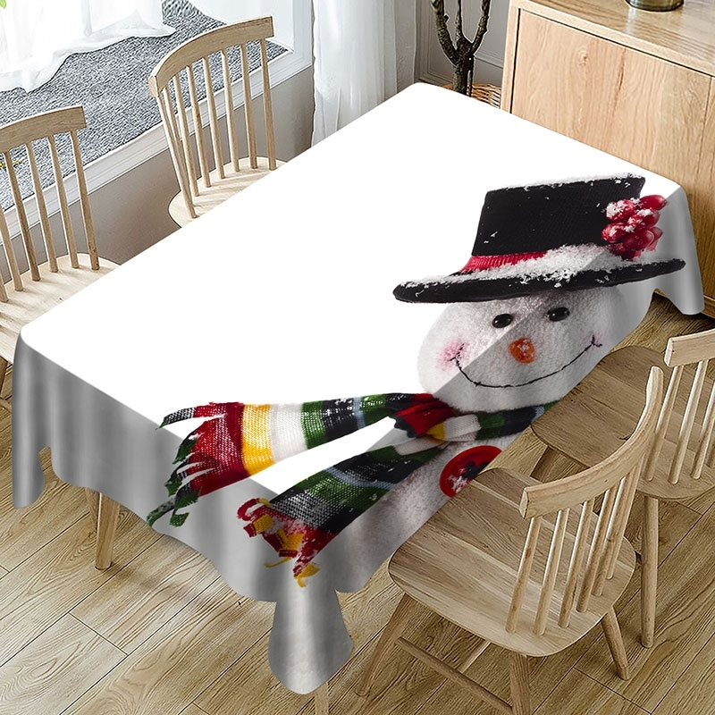 Image of Christmas Snowman Fabric Waterproof Tablecloth