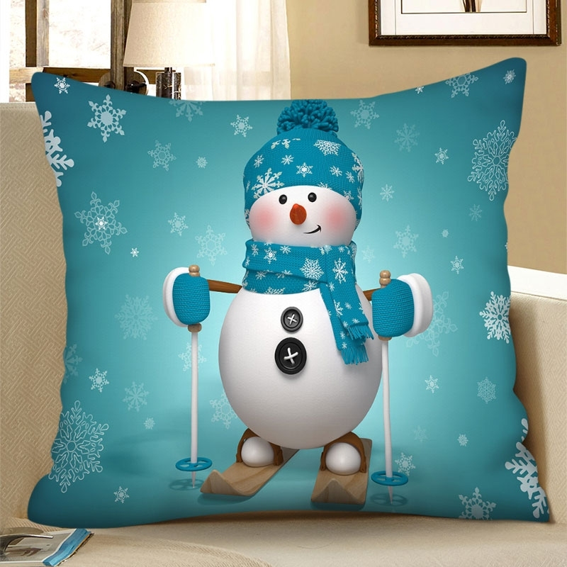 Christmas Snowman Snowflake Square Pillowcase