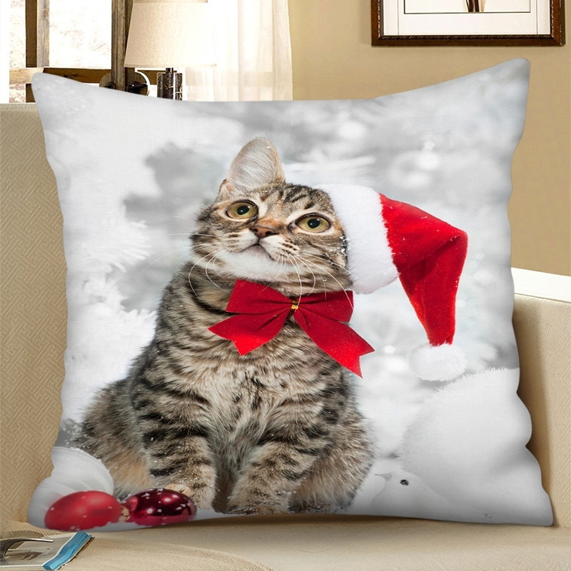 Image of Christmas Cat Square Pillowcase