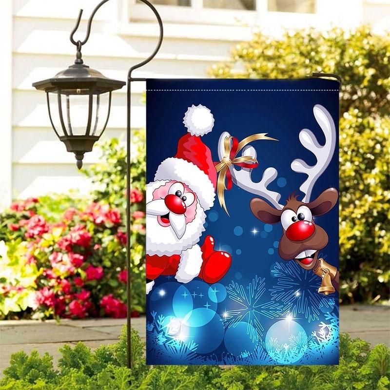 Image of Christmas Santa Reindeer Outdoor Garden Flag