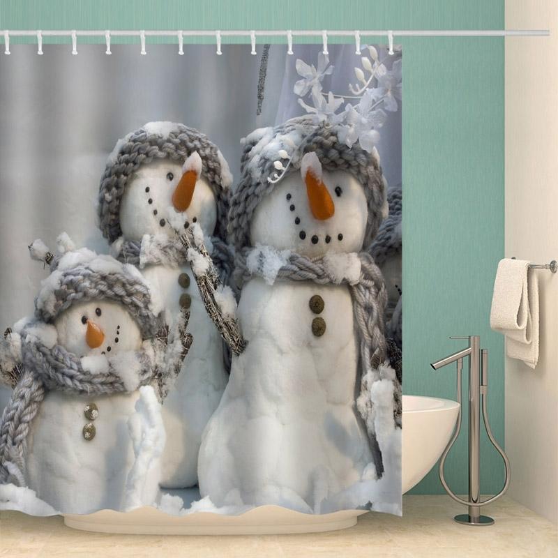 Image of Christmas Snowmen Waterproof Bathroom Shower Curtain