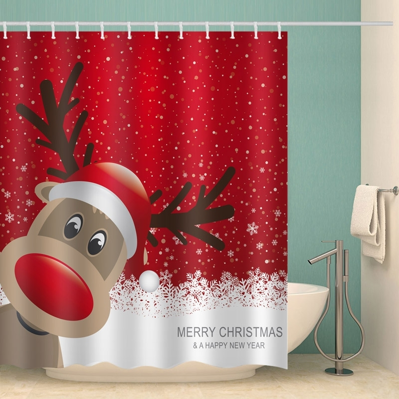 Image of Merry Christmas A Happy New Year Reindeer Bathroom Shower Curtain