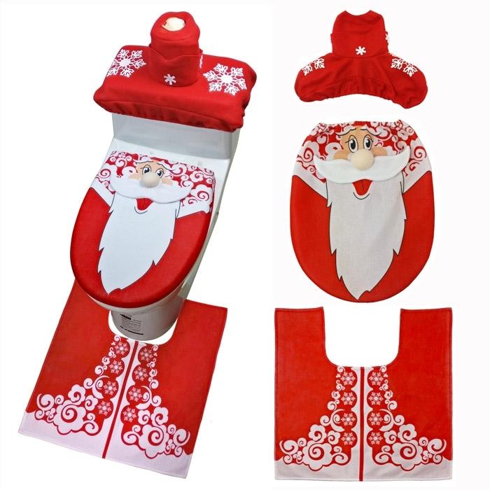 Image of Christmas Santa Claus Bath Toilet Mat Cover Set