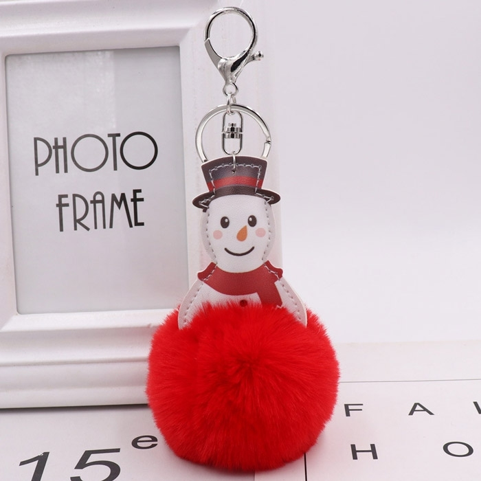 Image of Christmas Snowman Faux Fur Pompon Decor Keyring Doll