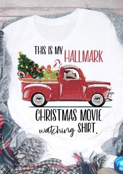 Hallmark Christmas Movie Watching Shirt T-Shirt Tee, White, 424870