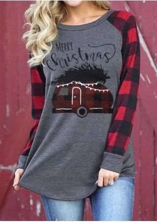 Merry Christmas Plaid Splicing Baseball T-Shirt Tee