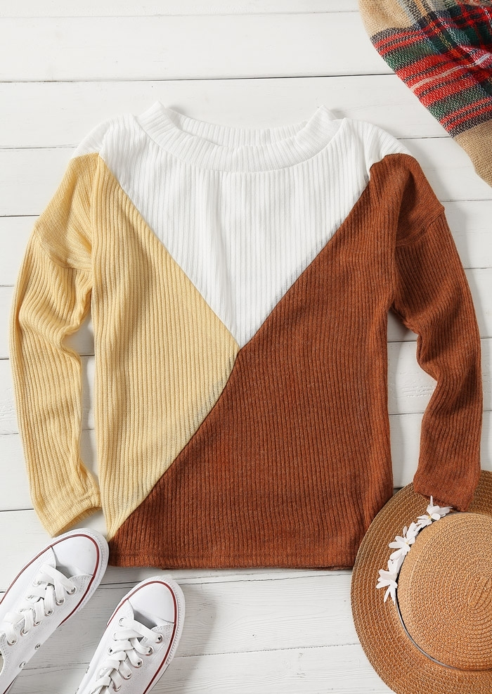 Image of Color Block Long Sleeve Sweater