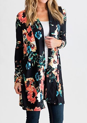39724f5e530d Floral Elbow Patch Cardigan without Necklace - Fairyseason