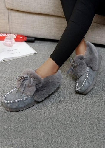 Image of Solid Fluffy Tie Round Toe Flats