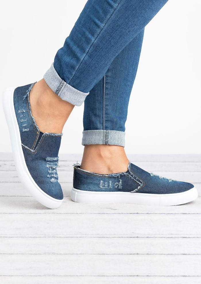 Image of Denim Ripped Round Toe Flats
