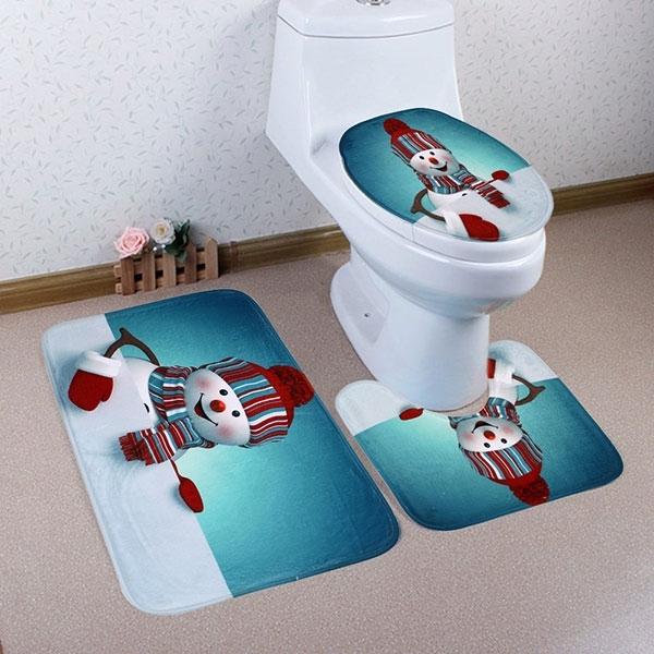 Image of 3Pcs/Set Christmas Snowman Bath Toilet Mat Cover Set