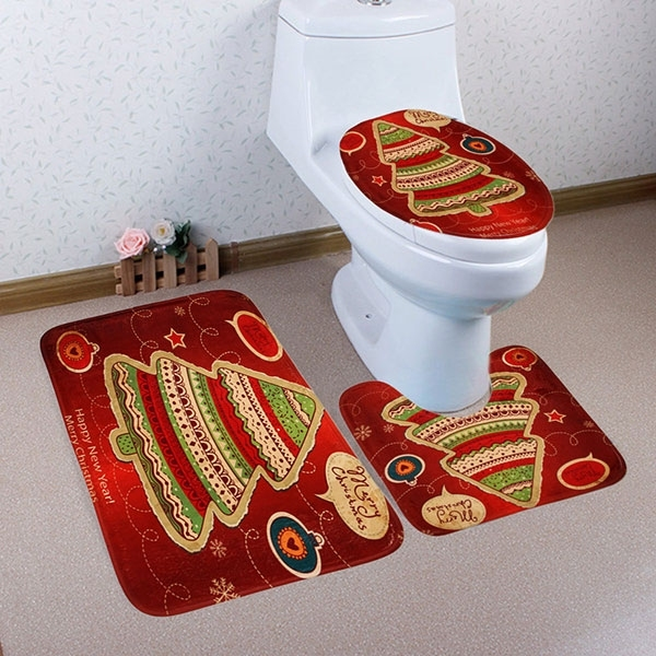 Image of 3Pcs/Set Christmas Tree Bath Toilet Mat Cover Set