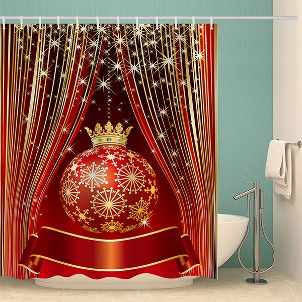 Image of Christmas Ball Waterproof Bathroom Shower Curtain