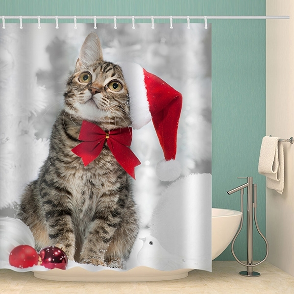 Image of Christmas Cat Waterproof Bathroom Shower Curtain