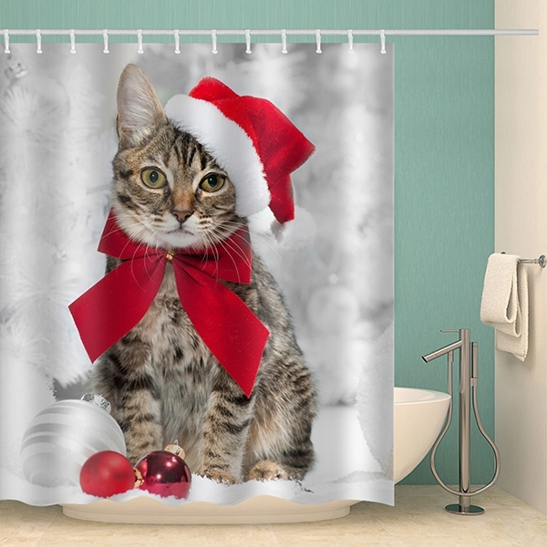 Image of Christmas Cat Ball Waterproof Bathroom Shower Curtain