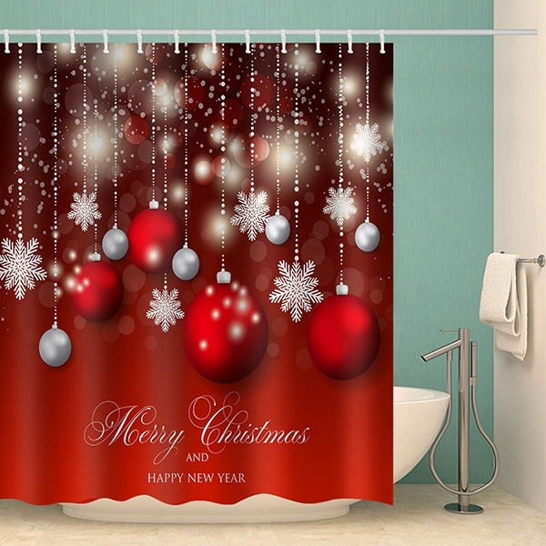 Image of Merry Christmas Ball Waterproof Bathroom Shower Curtain
