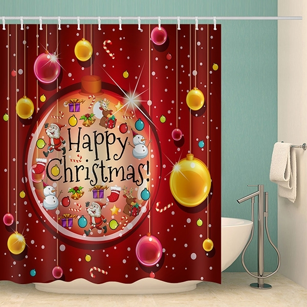 Image of Happy Christmas Ball Waterproof Bathroom Shower Curtain
