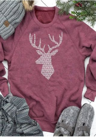Christmas Reindeer Long Sleeve Sweatshirt