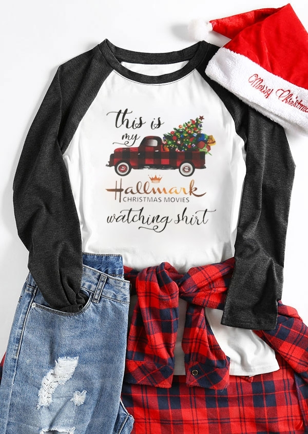Hallmark Christmas Movies Watching Shirt Baseball T-Shirt Tee, White, 429676