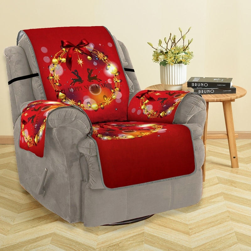 Image of Christmas Reindeer Bowknot Sofa Cover
