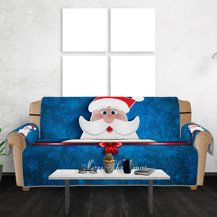 Image of Christmas Santa Claus Sofa Cover