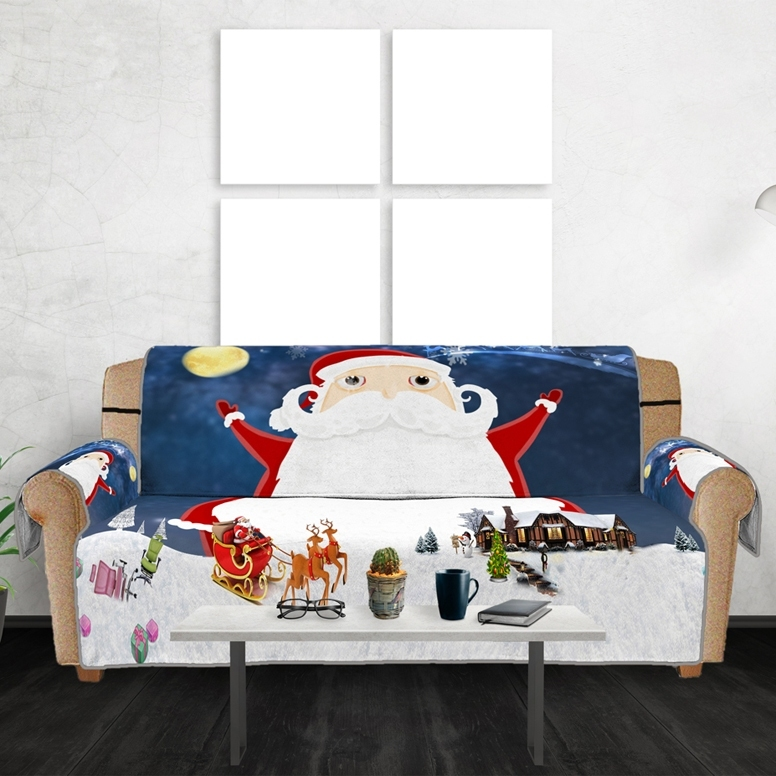 Image of Christmas Santa Claus Sleigh Sofa Cover