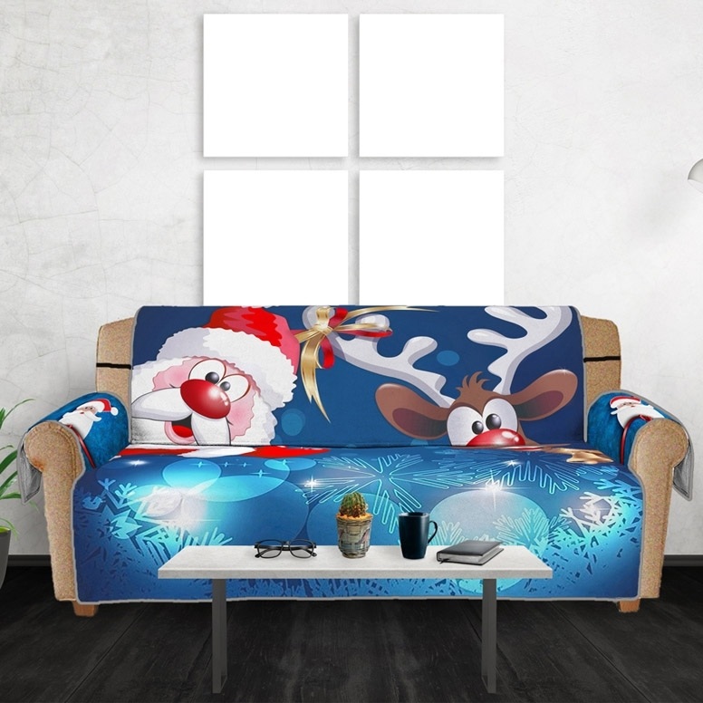 Image of Christmas Santa Elk Sofa Cover