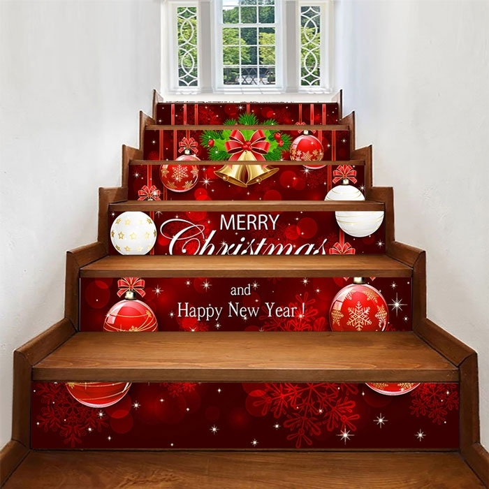 Image of 6pcs/Set Christmas Ball Pattern Decorative Stair Stickers