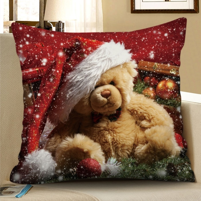 Christmas Hat Bear Square Pillowcase