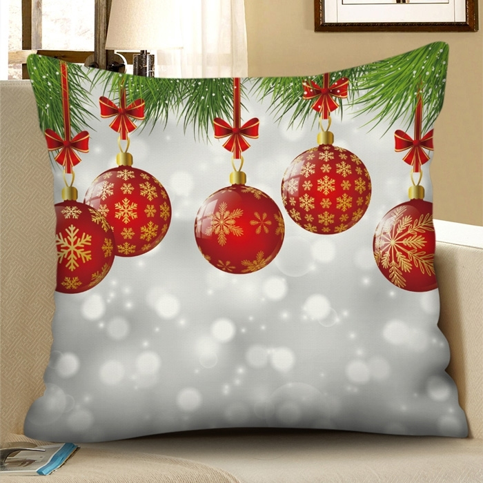 Christmas Snowflake Ball Square Pillowcase