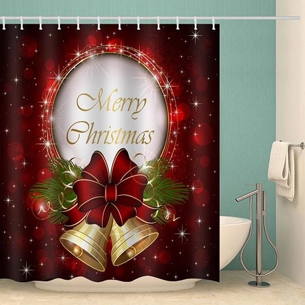 Image of Merry Christmas Bell Waterproof Bathroom Shower Curtain