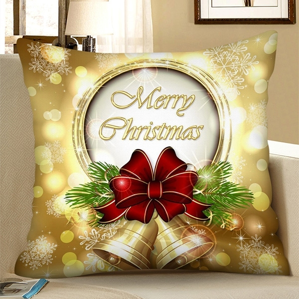 Merry Christmas Bell Square Pillowcase