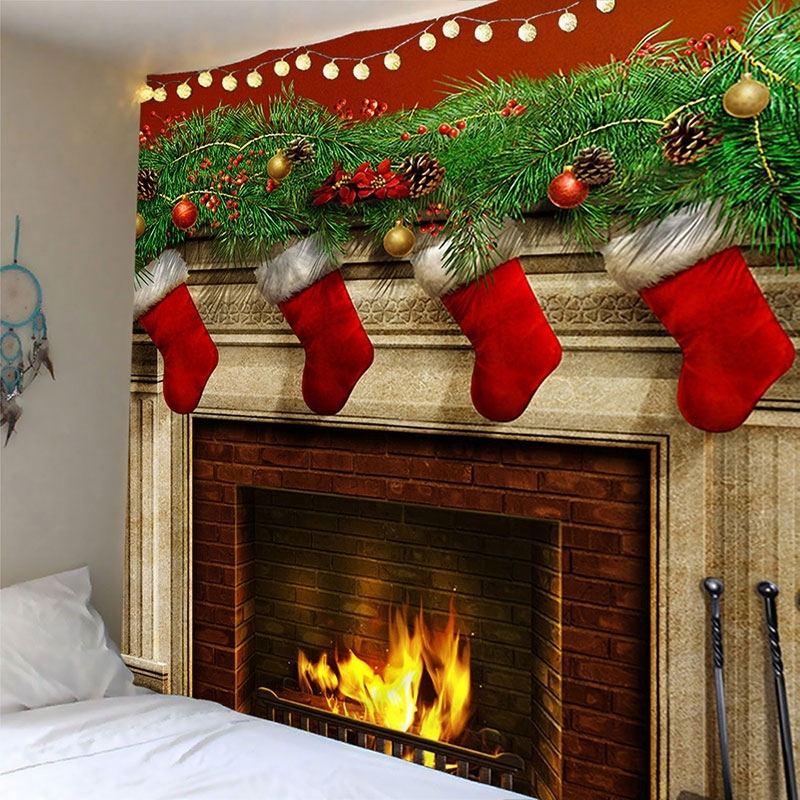Image of Christmas Stocking Waterproof Wall Tapestry