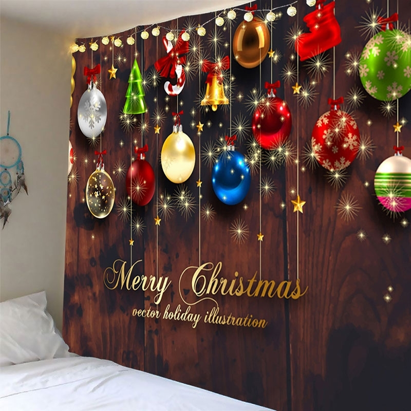 Image of Christmas Ball Bell Waterproof Wall Tapestry