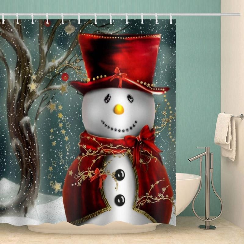 Image of Christmas Snowman Waterproof Bathroom Shower Curtain
