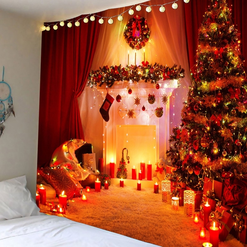 Image of Christmas Candle Tree Waterproof Wall Tapestry
