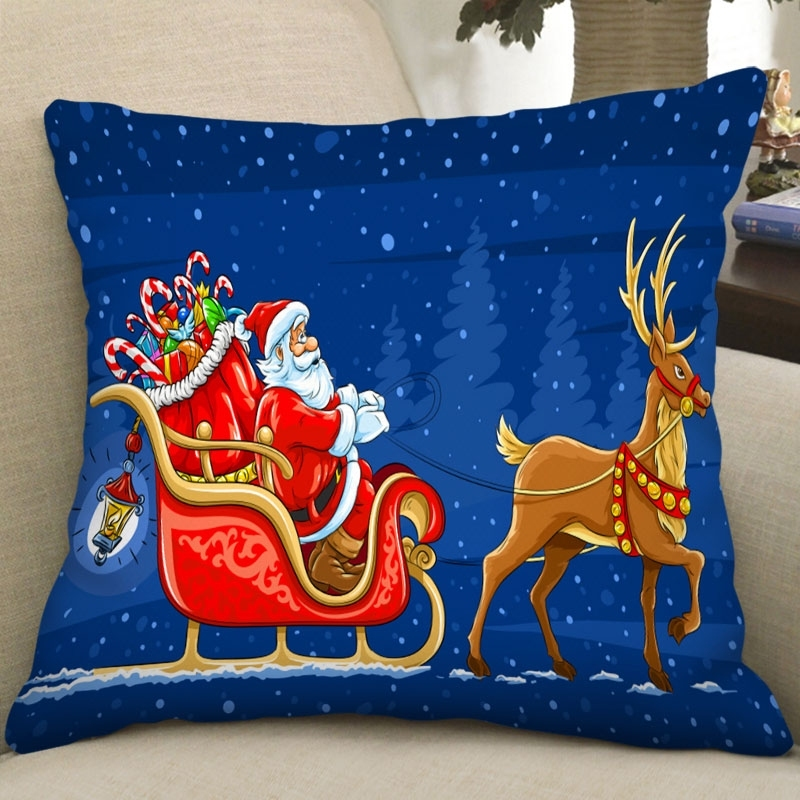 Image of Christmas Elk Santa Square Pillowcase