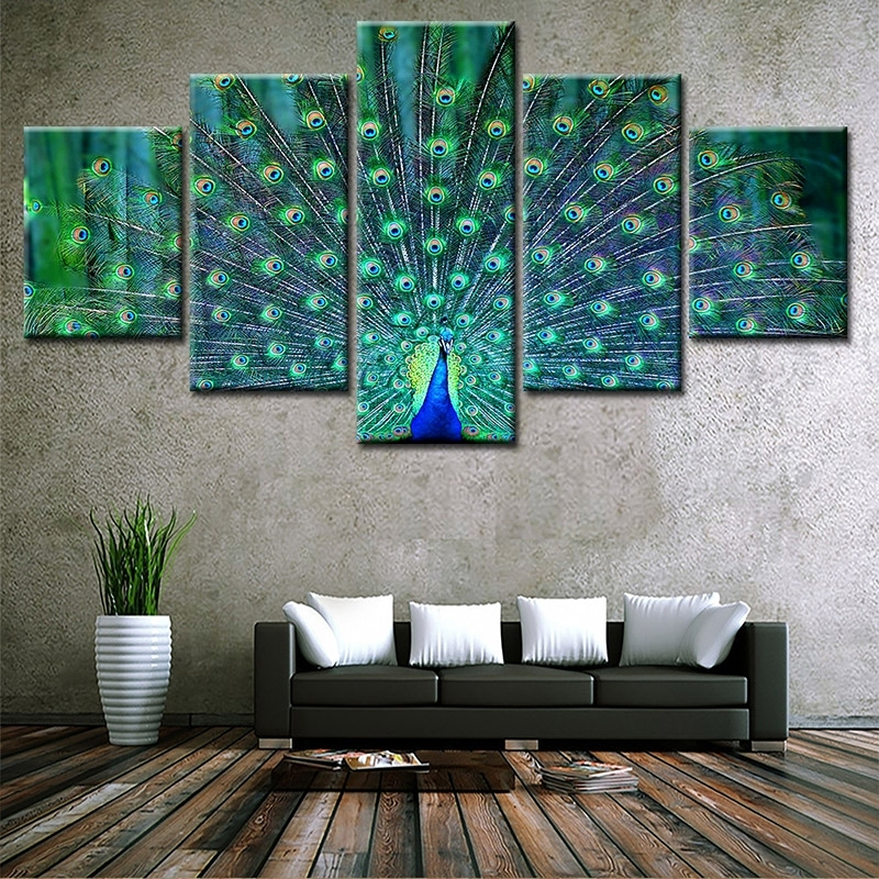 Image of 5Pcs/Set Frameless Peacock Canvas Wall Art Painting
